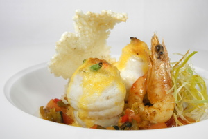 Gratin sole paupiettes with prawns