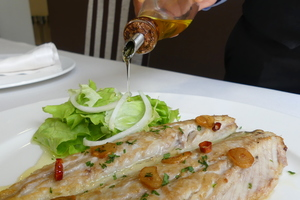 Grilled horse mackerel with salad