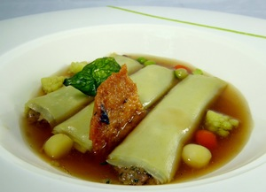 Cannelloni filled with braised duck and foie-grass