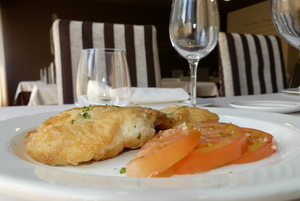 Grilled perch with tomato and garlic salad