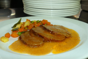 Braised pork loin with vegetables