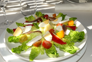 Fresh cheese, salt-cured anchovy salad and lettuce heart salad