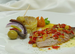 Grilled albacore with hot bilbaine dressing