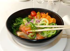 Hawaiian salmon and prawn poke