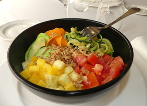 Vegans poke bowl  with mango and pineapple with white rice