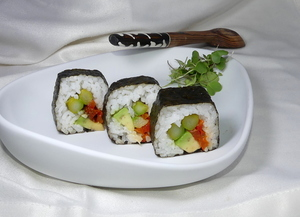 Vegan futomaki sushi with asparagus and avocado