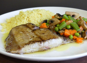 Grilled plaice with vegetables and couscous