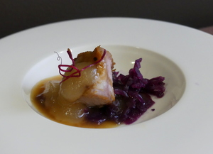 Laquered bacon, red cabbage sauerkraut and reineta apple