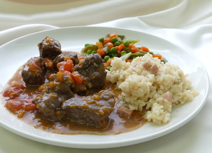 Piedmontese ragout with vegetables and risotto