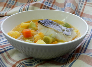 Porrusalda (leek and potato stew) with pumpkin and cod