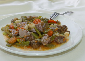 Lamb menestra (boiled vegetable stew)