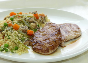 Pork tenderloin with couscous and mixed vegetables