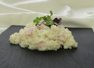 Cooked ham risotto