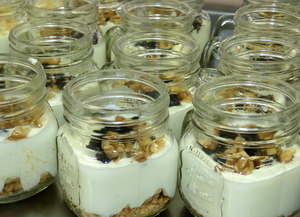 Yogurt cream with crumble, plums and nuts
