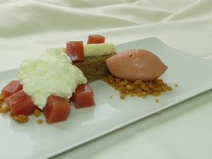Corn bread, guayaba sorbet and San Simon da costa cheese foam