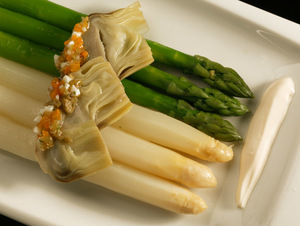 Wild asparagus and white asparagus salad with armagnac sauce
